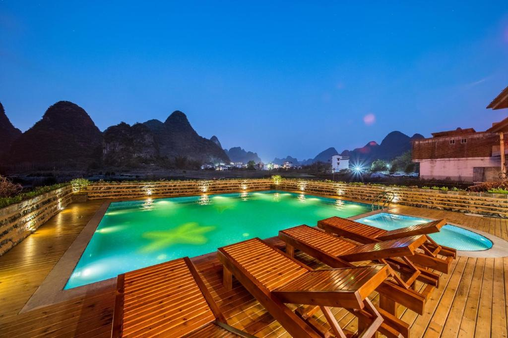 The swimming pool at or near Yangshuo Tea Cozy