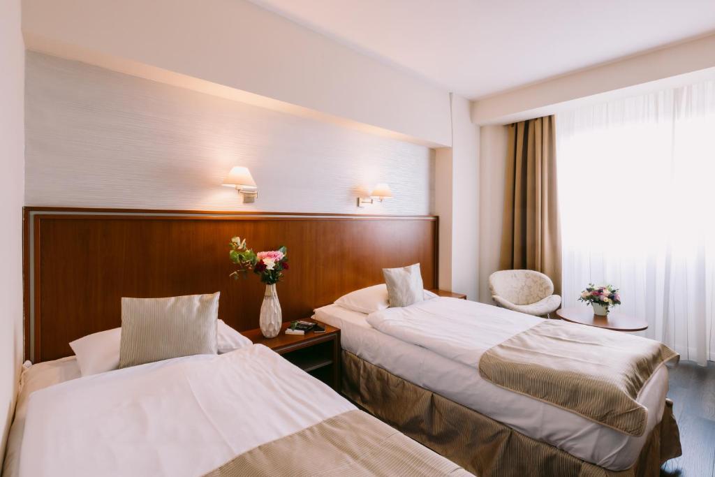 Un pat sau paturi într-o cameră la Hotel Timisoara