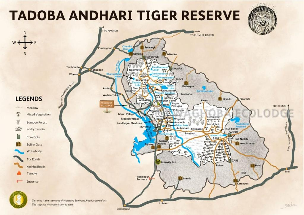 A map of the Wagoba Eco Lodge, Tadoba.