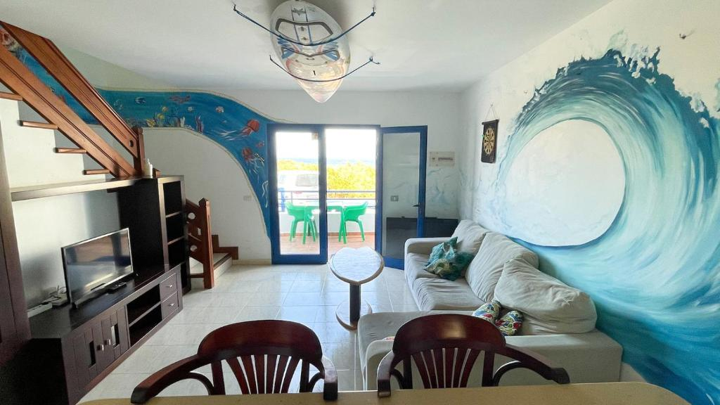 A seating area at Red Star Surf & Yoga Camp Lanzarote