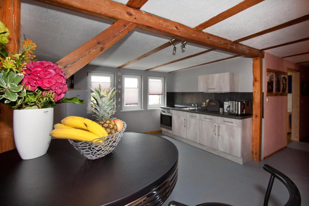 Küche/Küchenzeile in der Unterkunft Ferienwohnung Uwe's Sporthütte