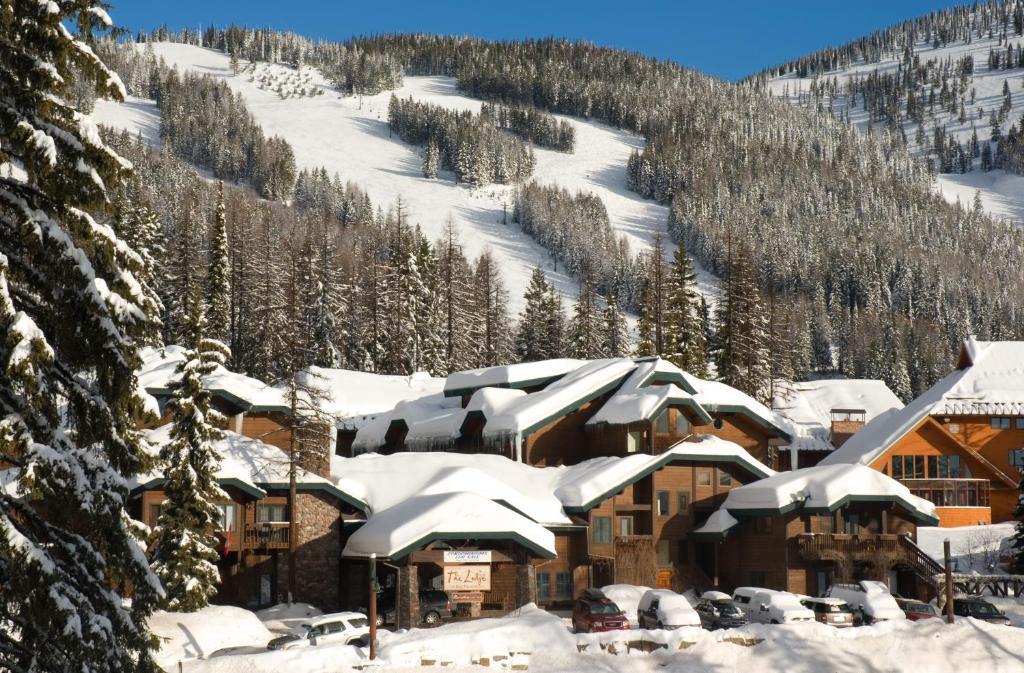 Kandahar Lodge at Whitefish Mountain Resort during the winter