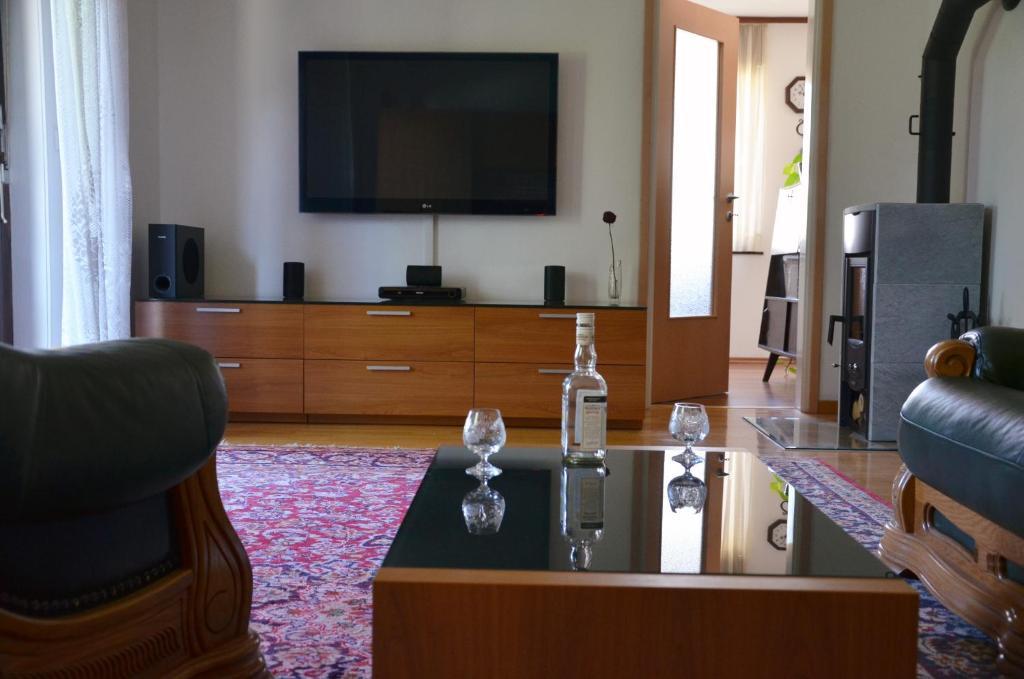 Televízia a/alebo spoločenská miestnosť v ubytovaní Apartments Lenardic