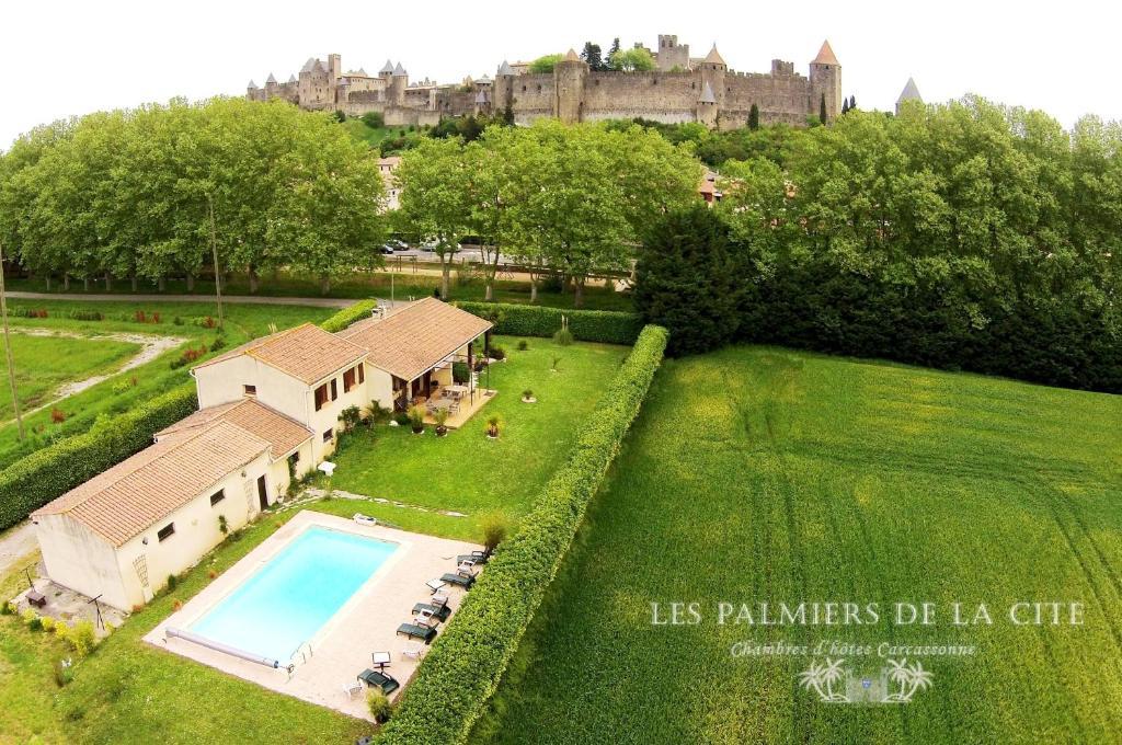 A view of the pool at Chambres d'hôtes Les Palmiers de la Cité or nearby
