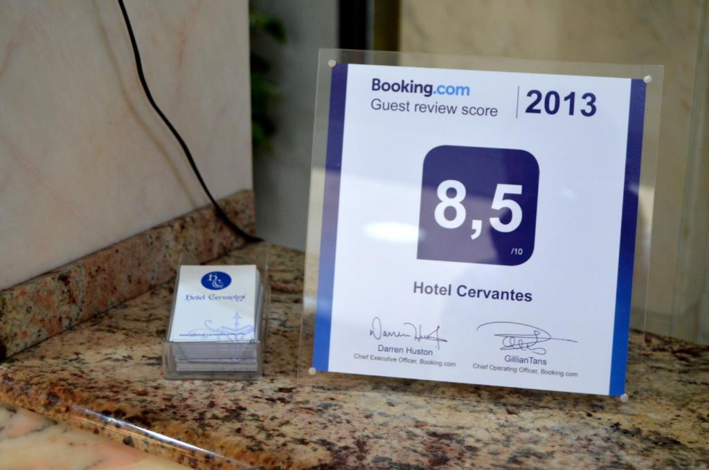 A certificate, award, sign, or other document on display at Hotel Cervantes