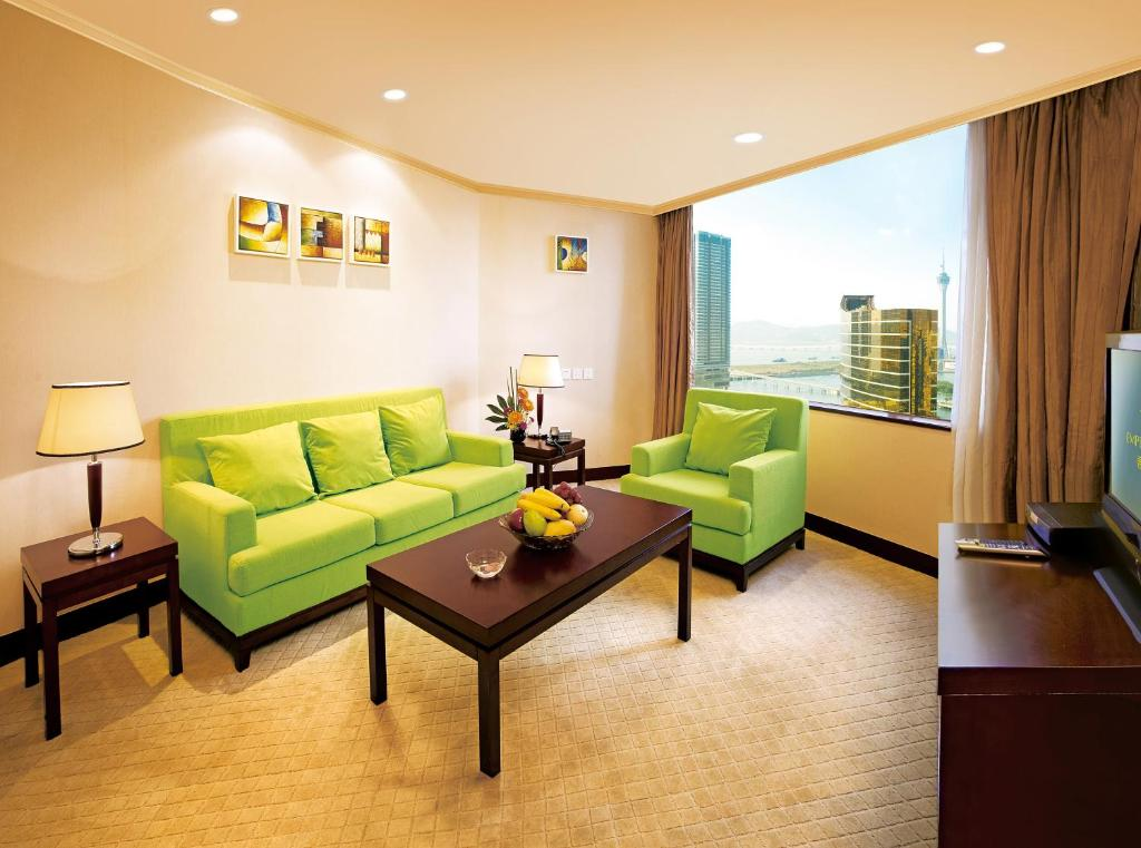 A seating area at Emperor Hotel