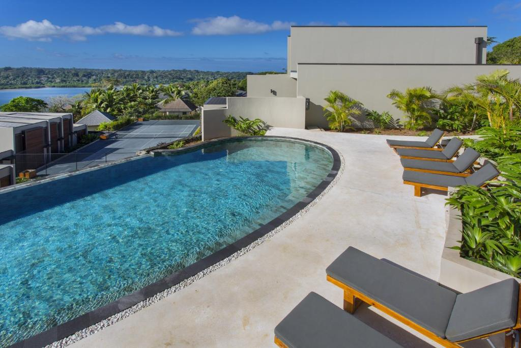 A view of the pool at The Terraces Boutique Apartments or nearby