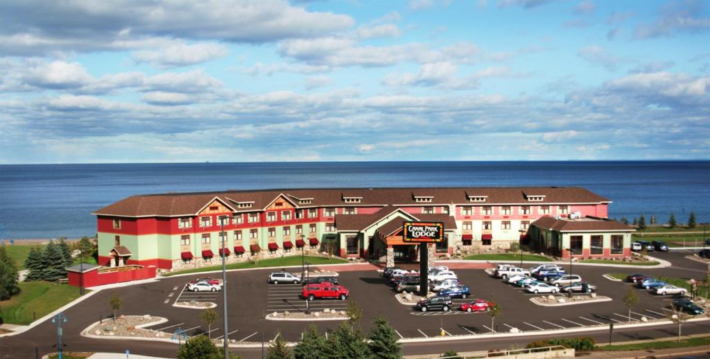 A bird's-eye view of Canal Park Lodge