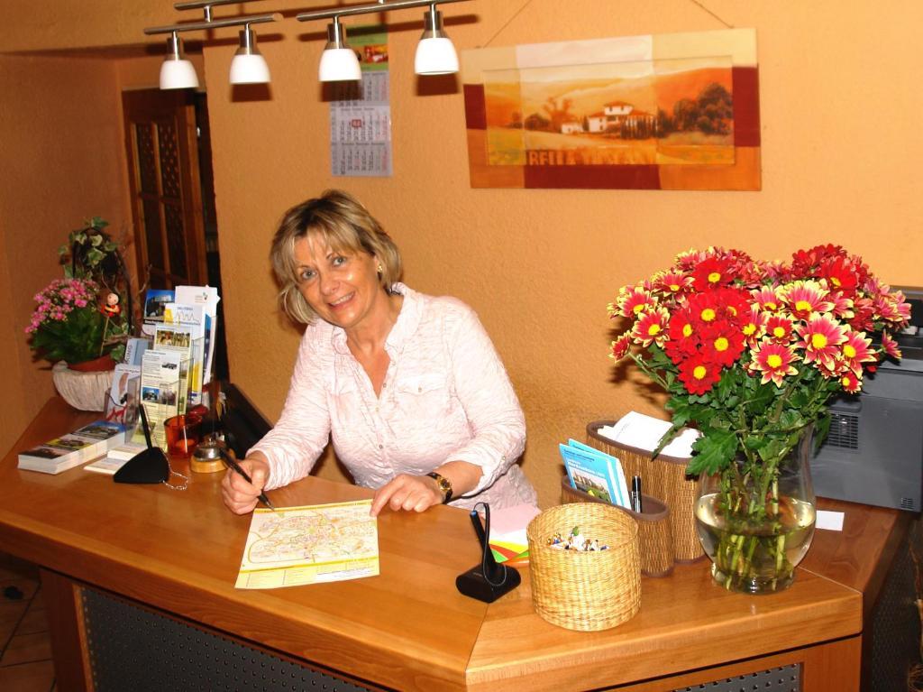 Лобби или стойка регистрации в Hotel-Pension Grüne Linde