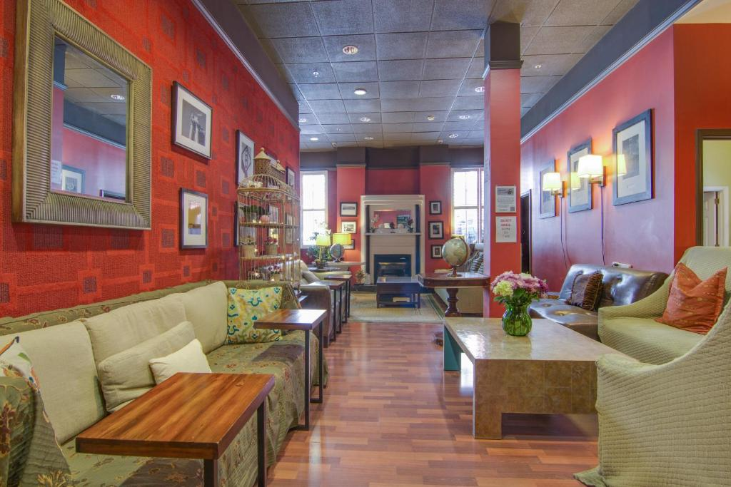The lobby or reception area at Adelaide Hostel