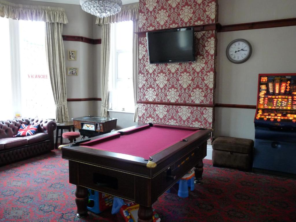 A billiards table at Hilbre Hotel