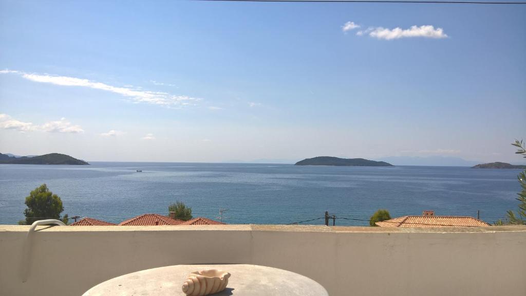 "A balcony or terrace at Azalea View - ""Amaranthos"" Skiathos studios"