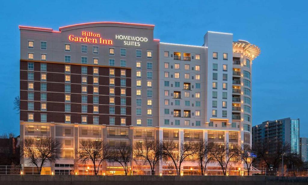 The Hilton Garden Inn Atlanta Midtown with the Homewood Suites next door.