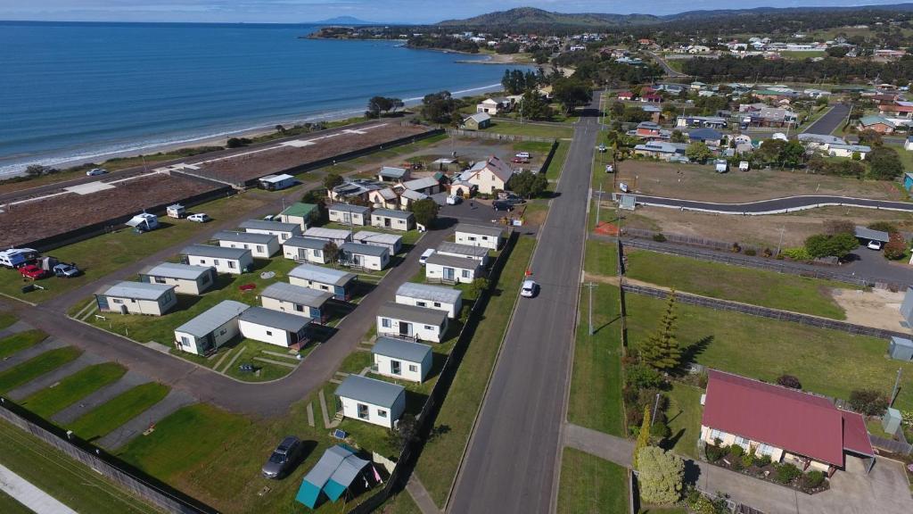 A bird's-eye view of Swansea Holiday Park Tasmania