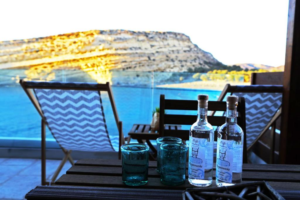 A patio or other outdoor area at Matala Caves Seafront Apartment