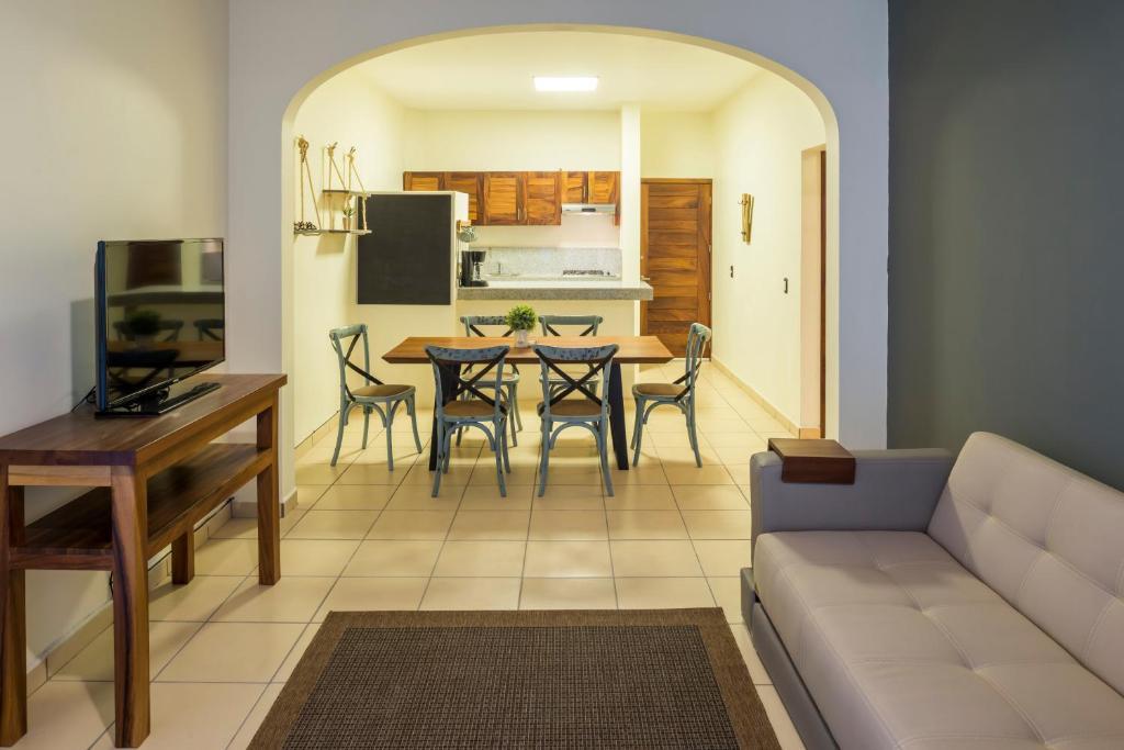 A seating area at Punto Mita Suites