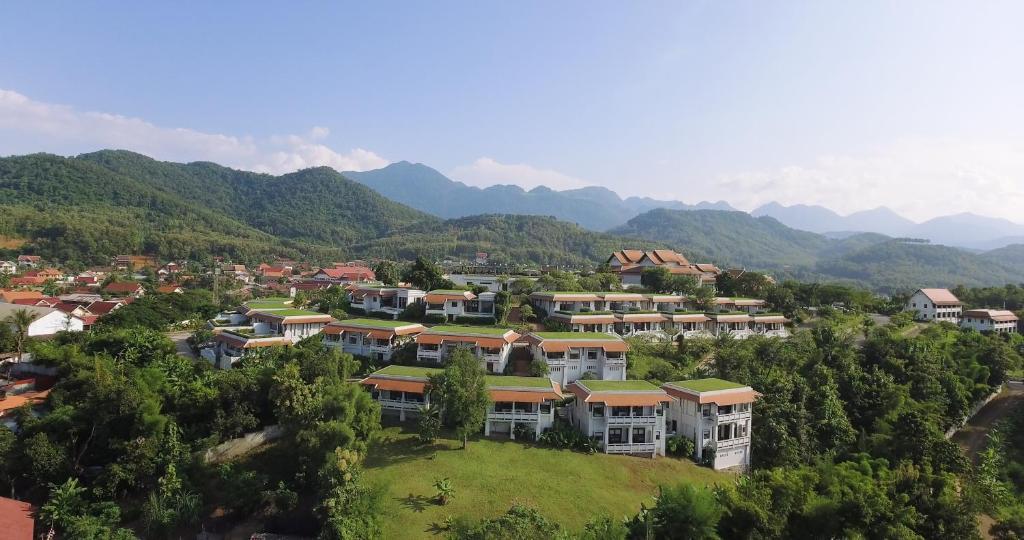 Blick auf Luangprabang View Hotel aus der Vogelperspektive