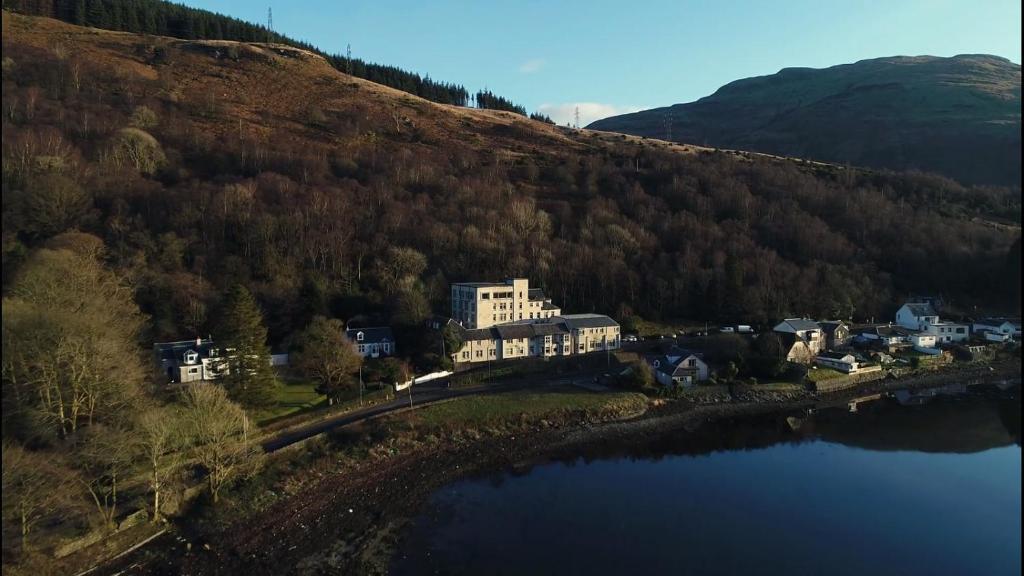 A bird's-eye view of Loch Long Hotel