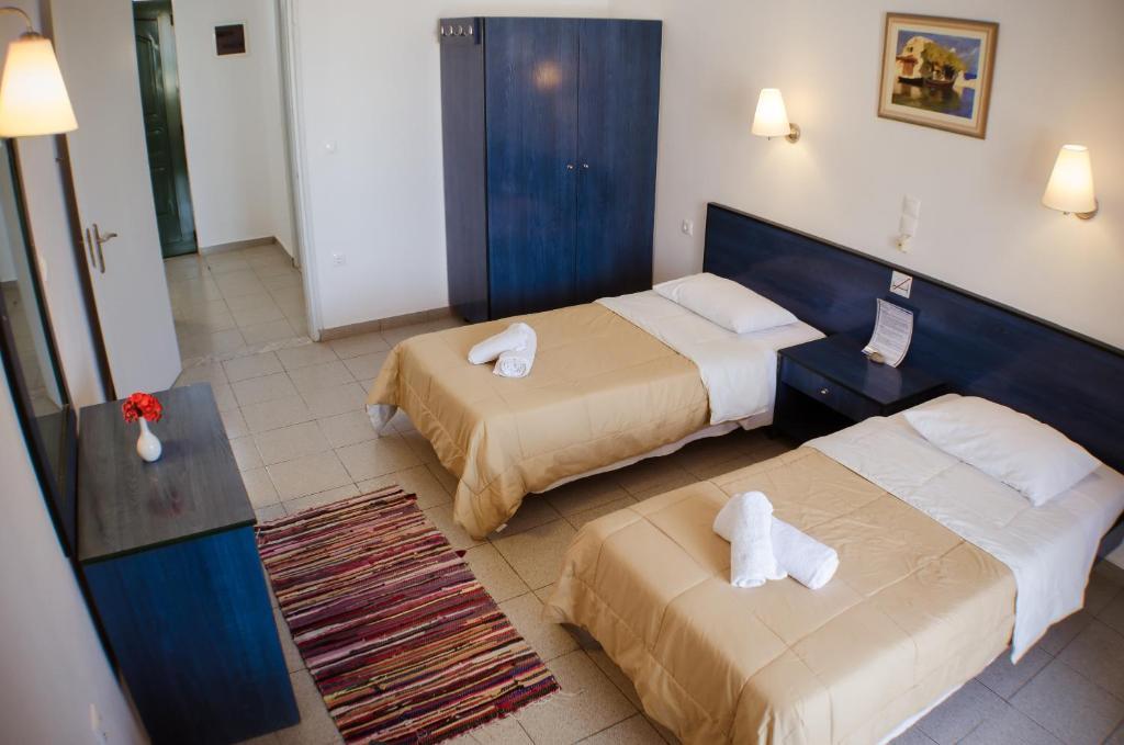 Vuode tai vuoteita majoituspaikassa Anthi Maria Beach Apartments