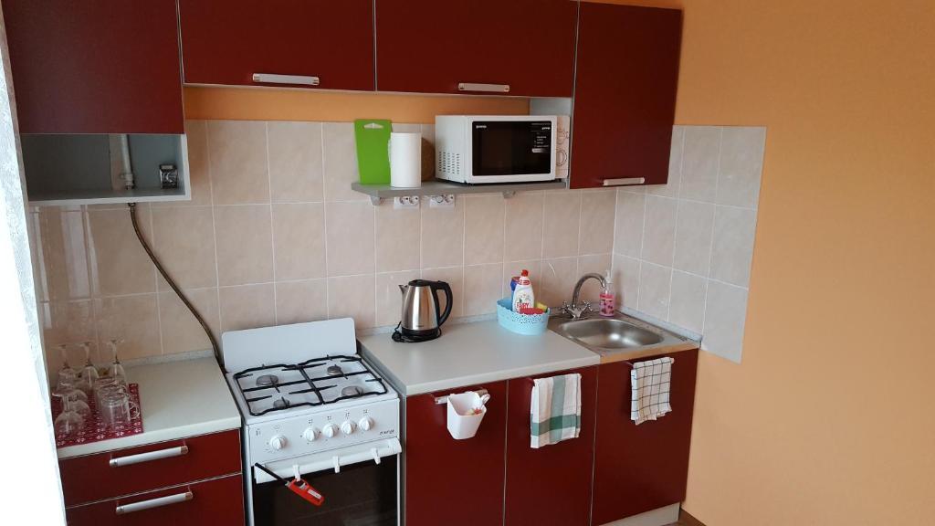A kitchen or kitchenette at Apartment GrInn 45 on Kommunalnaya