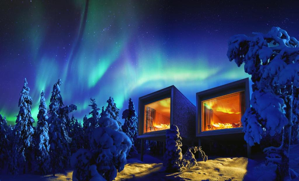 Arctic TreeHouse Hotel during the winter