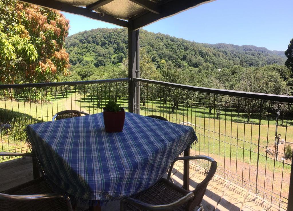 A balcony or terrace at Terania Creek Farmstay