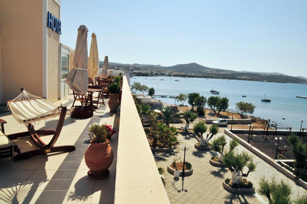 A balcony or terrace at Portiani Hotel