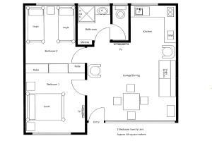 The floor plan of Barclay Motor Inn