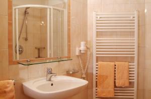 A bathroom at Hotel Gomagoierhof