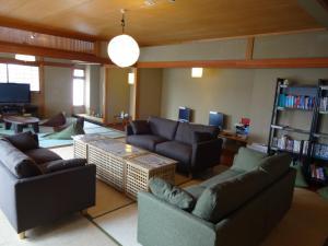 A seating area at Khaosan Kyoto Guesthouse