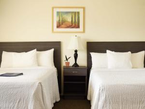 A bed or beds in a room at A Wave Inn - Montauk