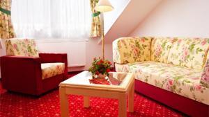 Ein Sitzbereich in der Unterkunft Elbhotel Bad Schandau