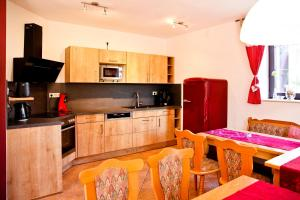 A kitchen or kitchenette at Pension Oberhof 810 M