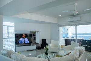 A seating area at OCEAN VIEW SPACIOUS PENTHOUSES WITH BIG TERRACES AND OVER 318 Square Meters