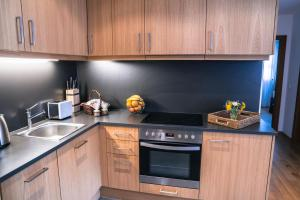 A kitchen or kitchenette at Steinberghaus Apartments