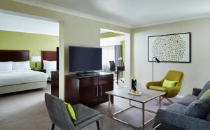 A television and/or entertainment center at Manchester Airport Marriott Hotel