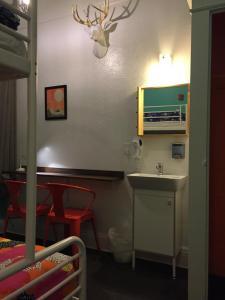 A bathroom at HI San Francisco Downtown Hostel