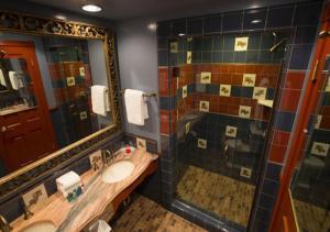A bathroom at Madonna Inn