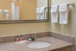 A bathroom at Super 8 by Wyndham Montgomery I-65
