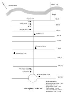 The floor plan of Vineland Motel Mildura