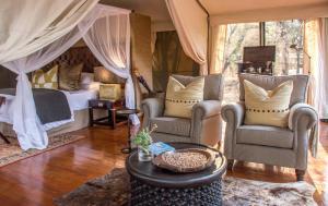 A seating area at Rhino Sands Safari Camp