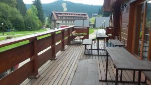 Balkón nebo terasa v ubytování Areál Lesková