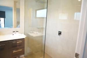 A bathroom at Ben's Place - modern & convenient