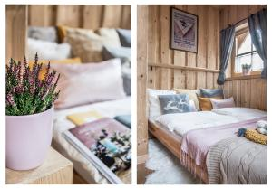 Łóżko lub łóżka w pokoju w obiekcie Klimkówka
