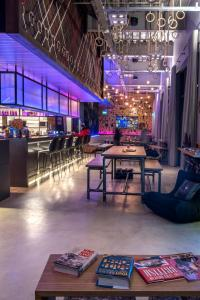 The lounge or bar area at Moxy London Stratford