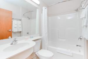A bathroom at Microtel Inn & Suites by Wyndham Olean