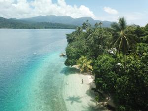 A bird's-eye view of Evis Resort at Nggatirana Island