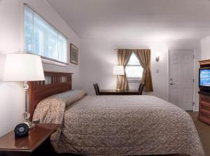 A bed or beds in a room at Birches Motel