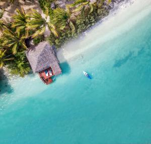 A bird's-eye view of Aitutaki Lagoon Private Island Resort (Adults Only)