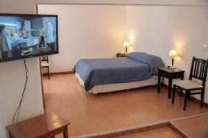 Cama ou camas em um quarto em Hotel Premier Bariloche